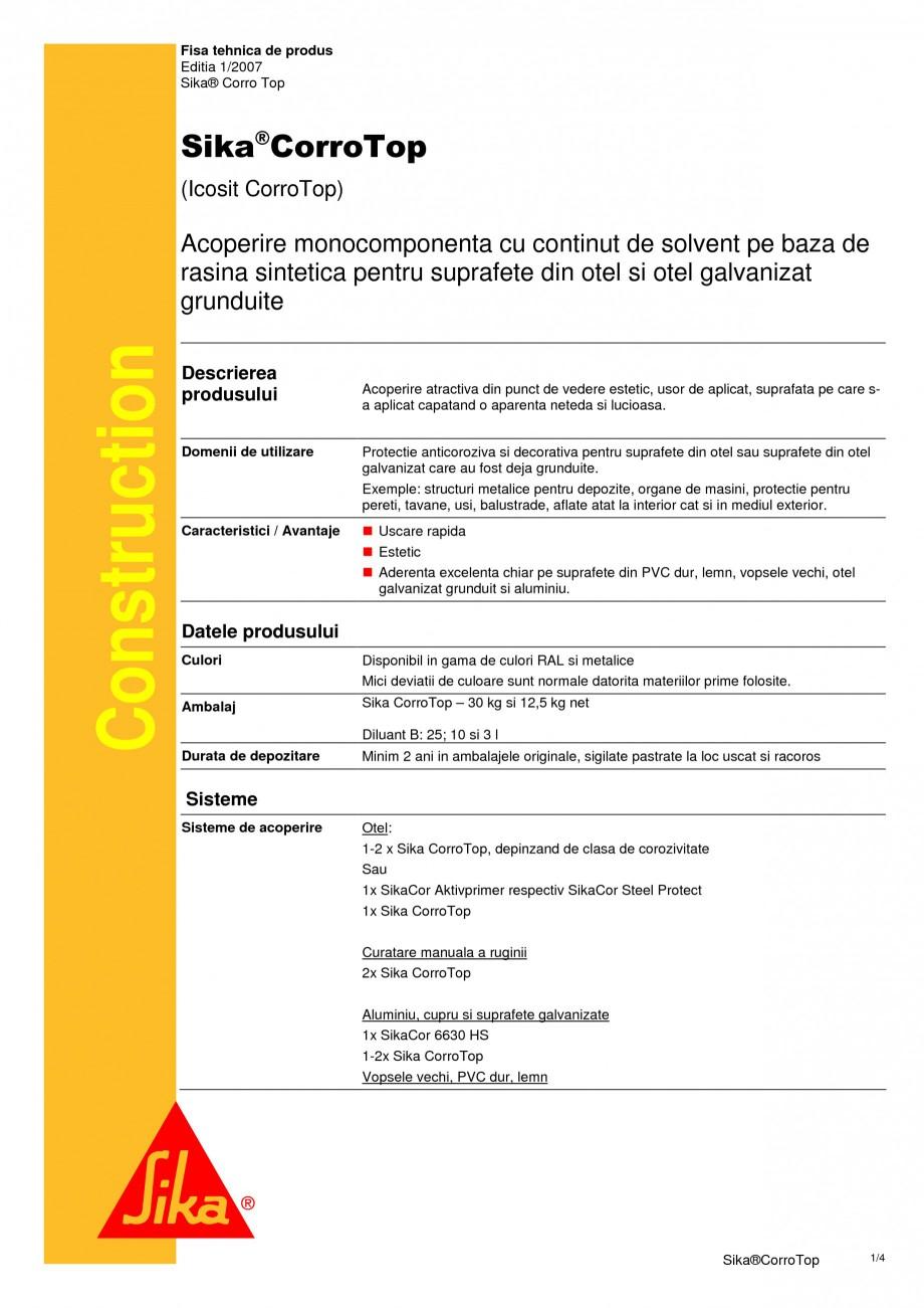 Pagina 1 - Acoperire monocomponenta cu continut de solvent pe baza de rasina sintetica SIKA Sika®...