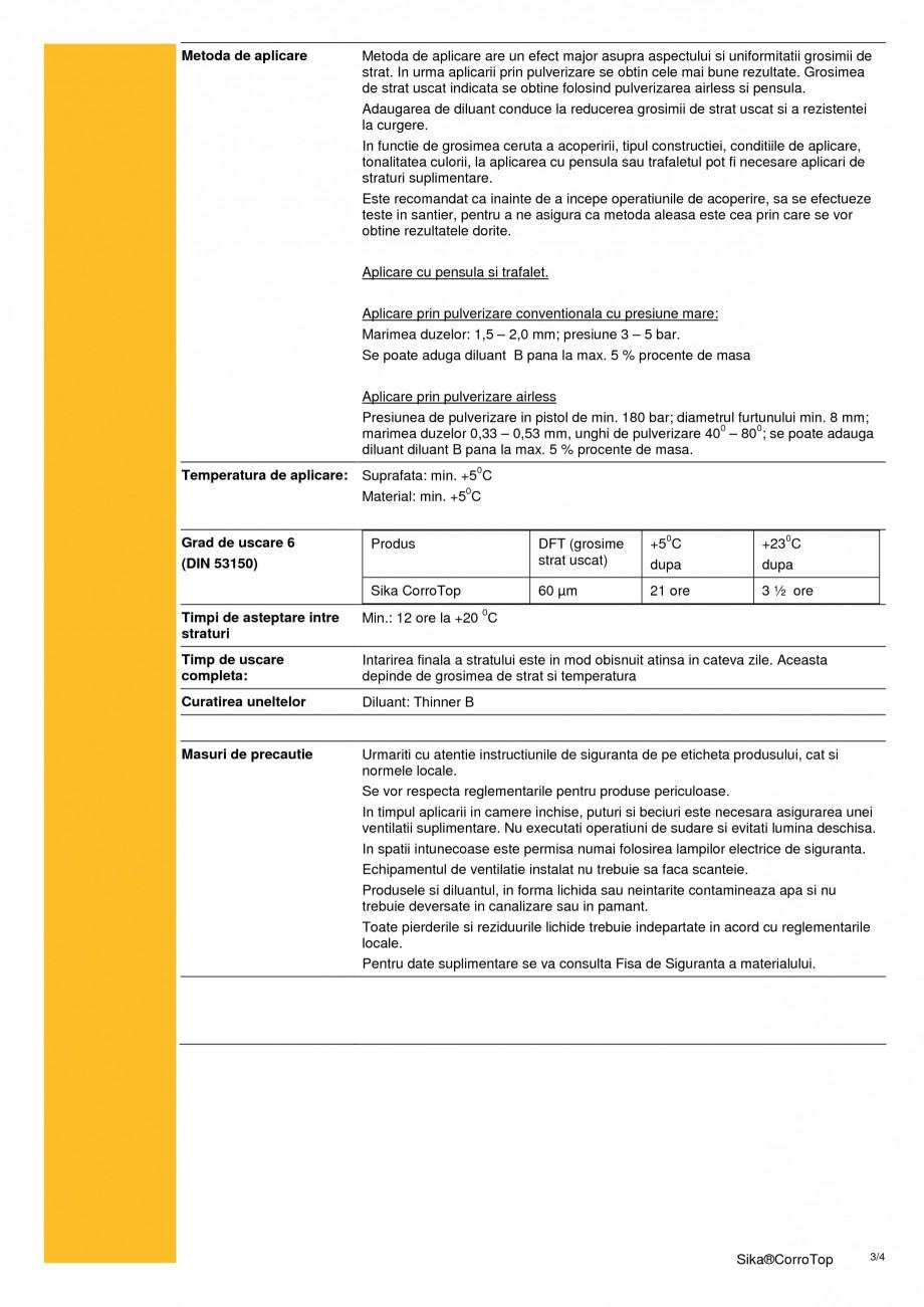 Pagina 3 - Acoperire monocomponenta cu continut de solvent pe baza de rasina sintetica SIKA Sika®...