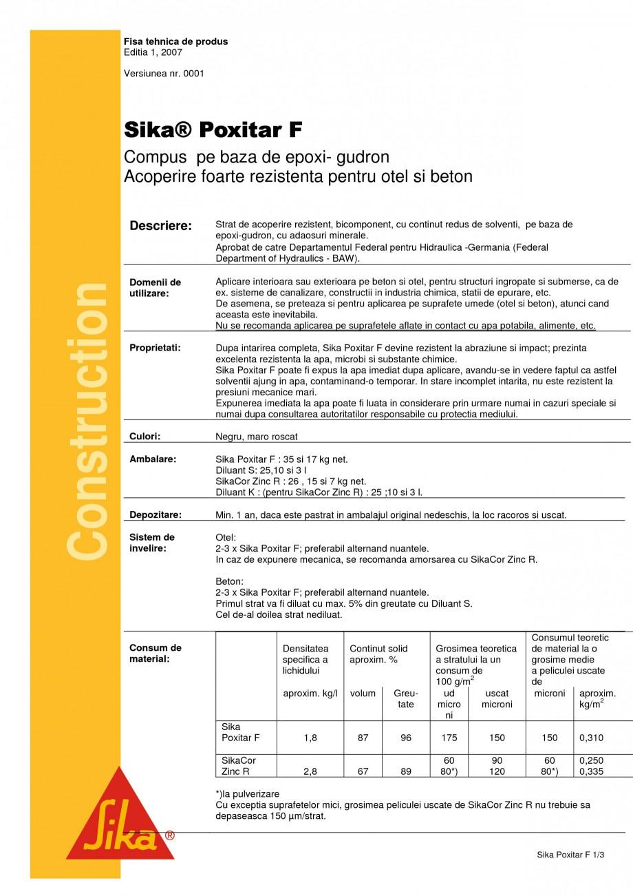 Pagina 1 - Compus pe baza de epoxi-gudron SIKA Sika® Poxitar F Fisa tehnica Romana Fisa tehnica ...