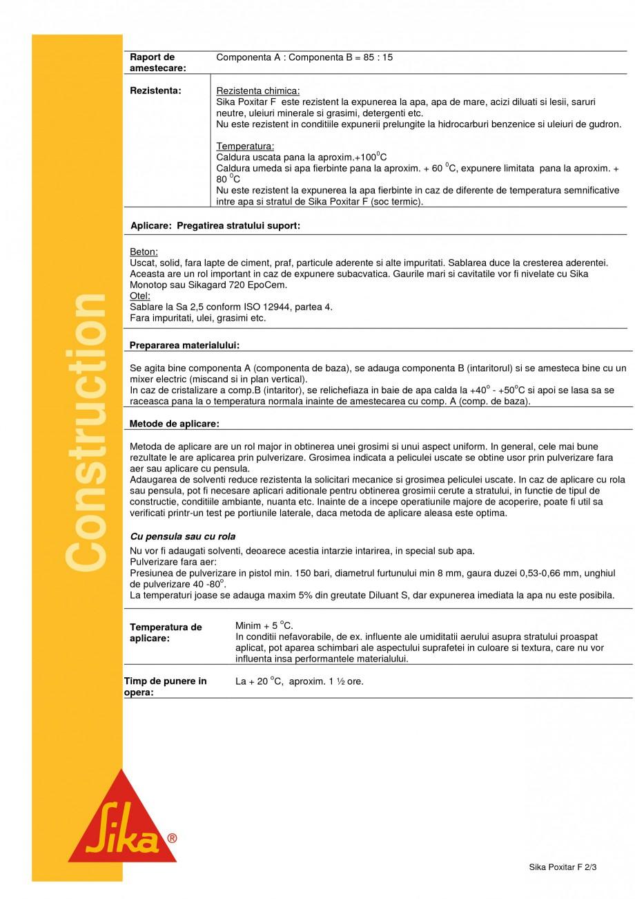 Pagina 2 - Compus pe baza de epoxi-gudron SIKA Sika® Poxitar F Fisa tehnica Romana vandu-se in...