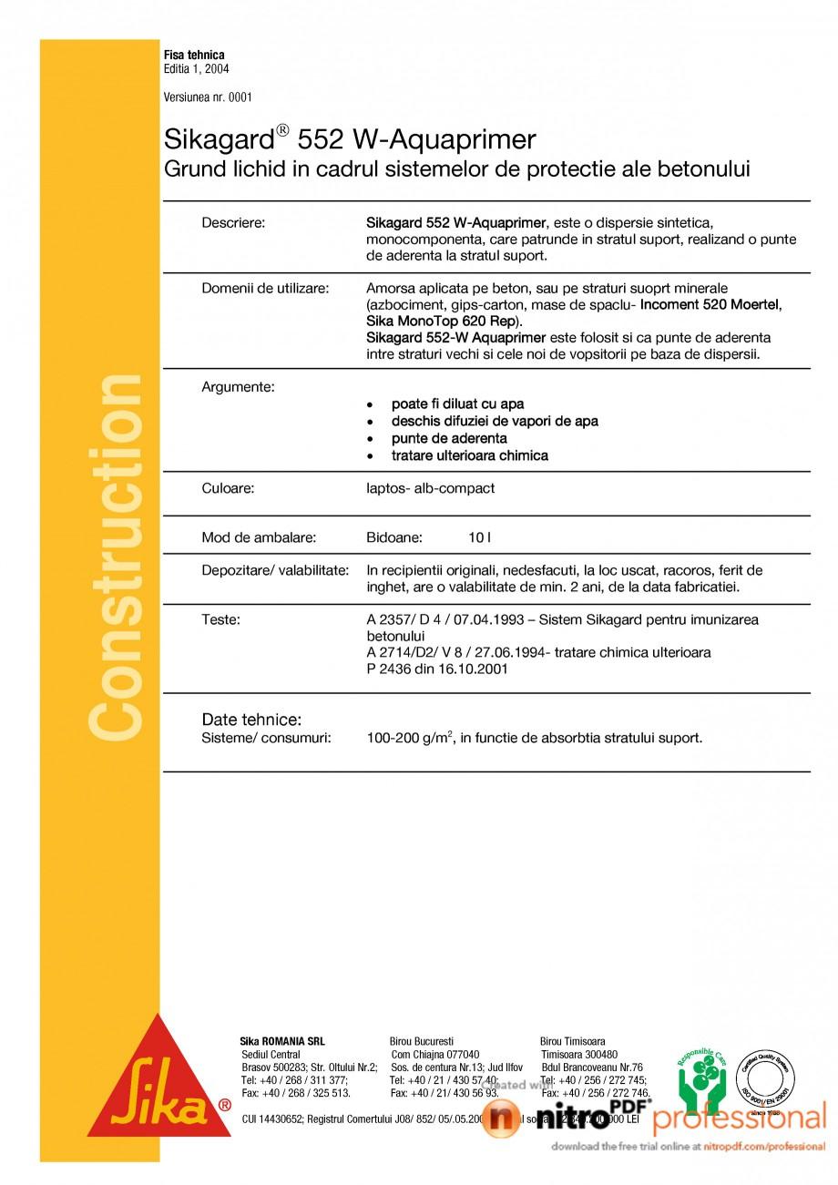 Pagina 1 - Grund lichid in cadrul sistemelor de protectie ale betonului SIKA Sikagard®-552...