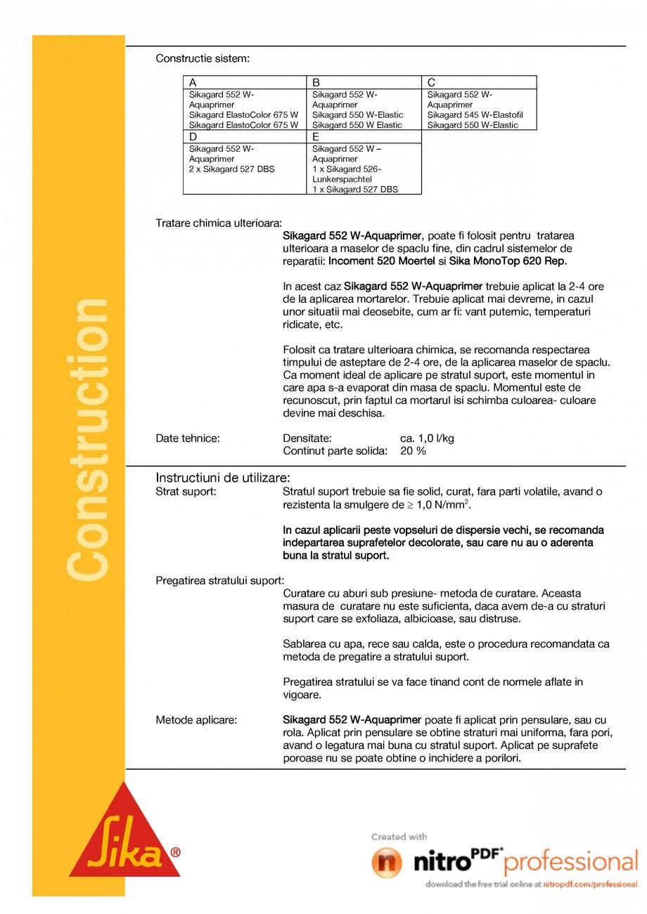 Pagina 2 - Grund lichid in cadrul sistemelor de protectie ale betonului SIKA Sikagard®-552...