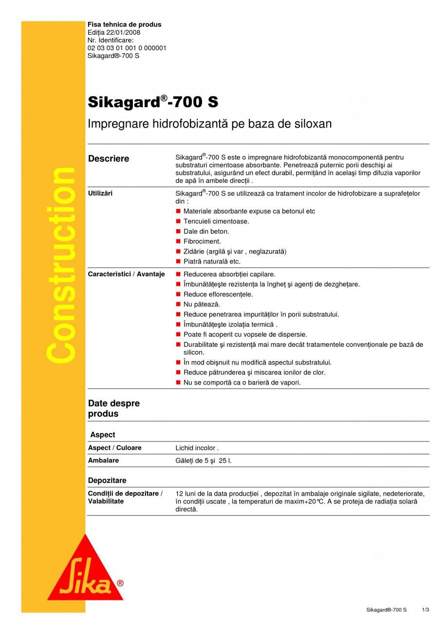 Pagina 1 - Impregnare hidrofobizanta pe baza de siloxan SIKA Sikagard®-700 S Fisa tehnica Romana...
