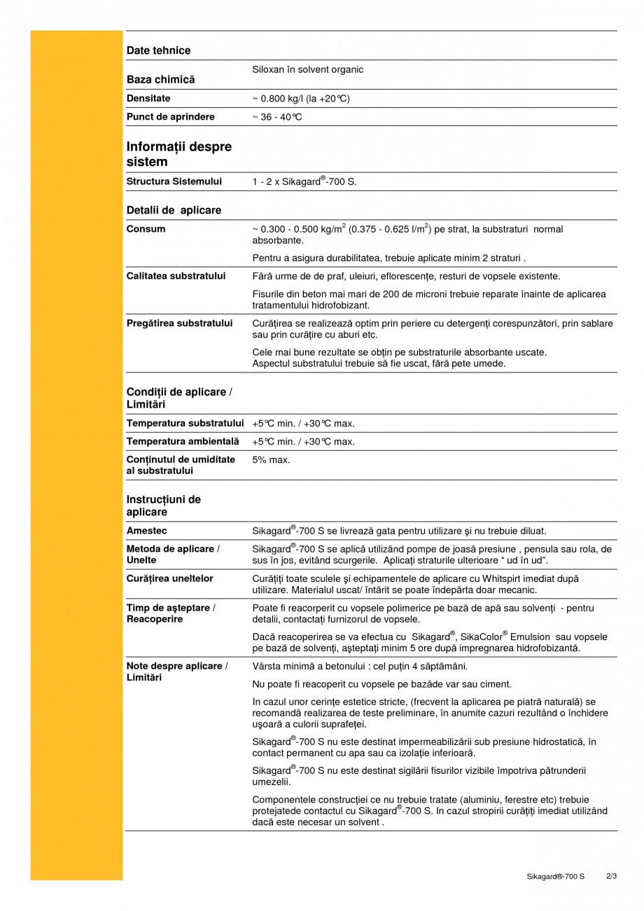 Pagina 2 - Impregnare hidrofobizanta pe baza de siloxan SIKA Sikagard®-700 S Fisa tehnica Romana...
