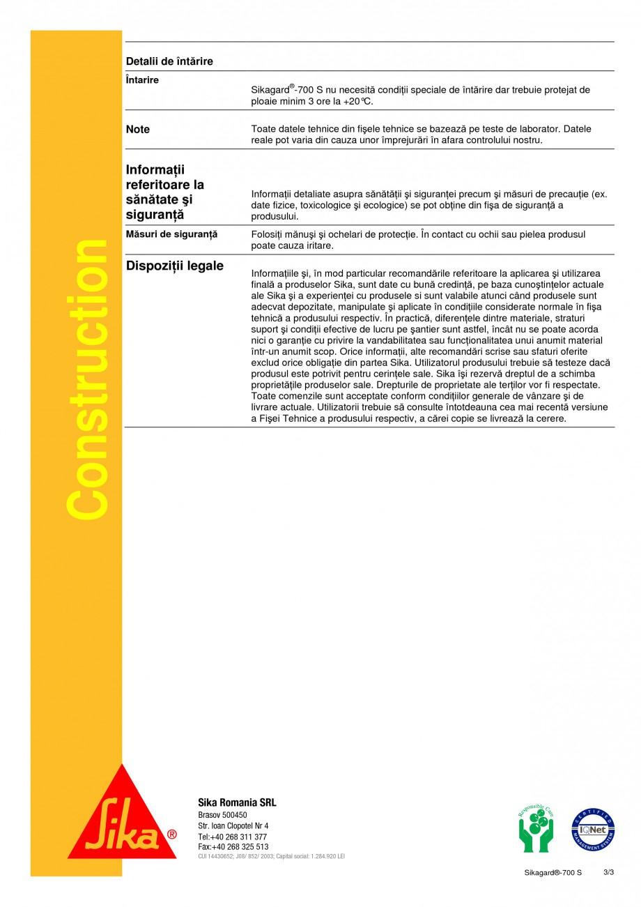 Pagina 3 - Impregnare hidrofobizanta pe baza de siloxan SIKA Sikagard®-700 S Fisa tehnica Romana...
