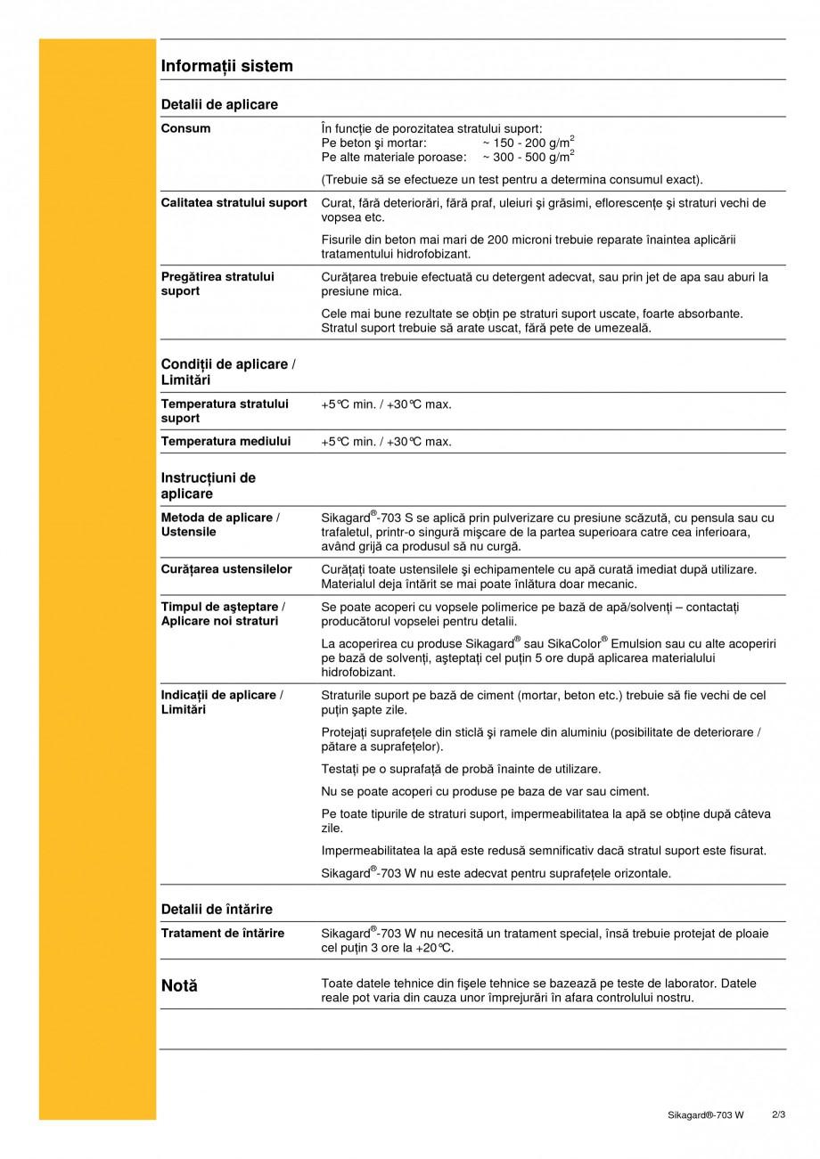Pagina 2 - Material de impregnare hidrofobizant pentru fatadele cladirilor SIKA Sikagard®-703 W ...
