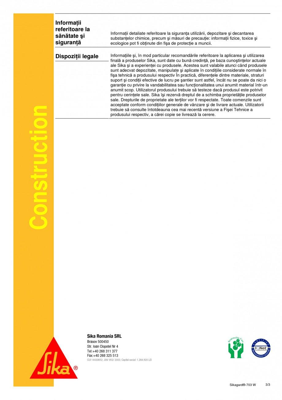 Pagina 3 - Material de impregnare hidrofobizant pentru fatadele cladirilor SIKA Sikagard®-703 W ...