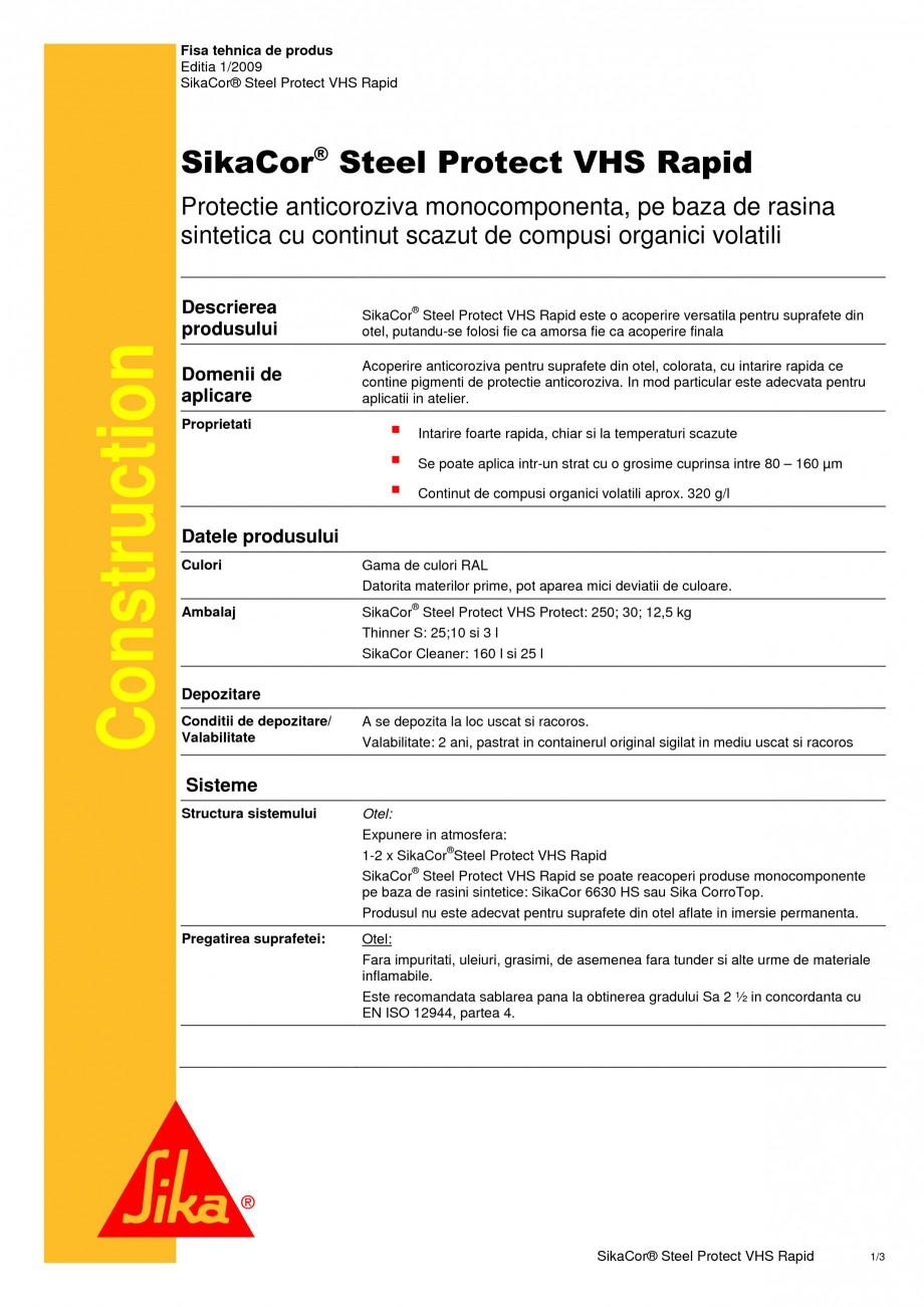 Pagina 1 - Protectie anticoroziva monocomponenta, pe baza de rasina SIKA SikaCor® Steel Protect ...