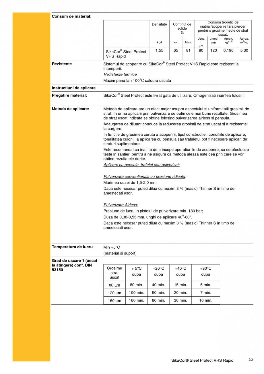 Pagina 2 - Protectie anticoroziva monocomponenta, pe baza de rasina SIKA SikaCor® Steel Protect ...
