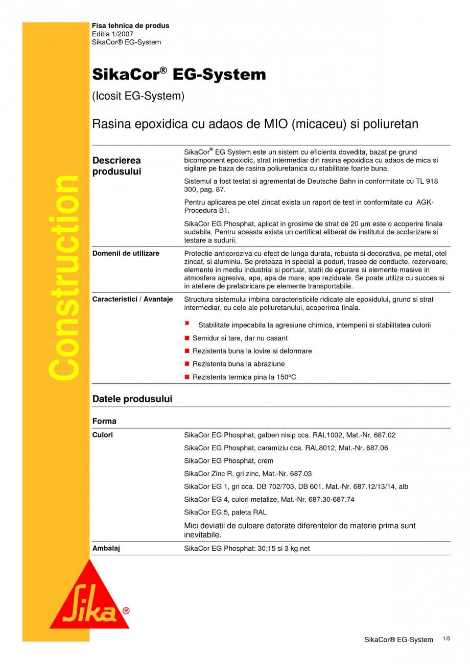 Pagina 1 - Rasina epoxidica cu adaos de MIO (micaceu) si poliuretan SIKA SikaCor® EG System Fisa...