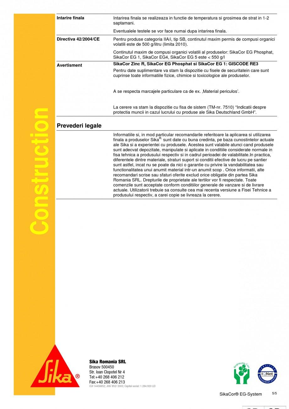 Pagina 5 - Rasina epoxidica cu adaos de MIO (micaceu) si poliuretan SIKA SikaCor® EG System Fisa...