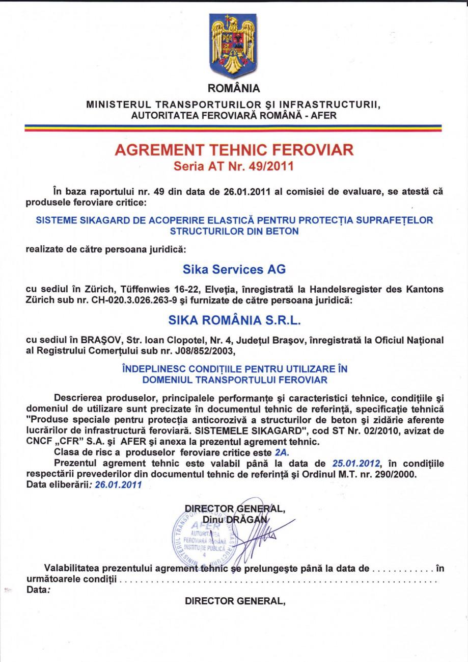 Pagina 1 - Agrement tehnic feroviar SIKA Sikagard®-552 W-Aquaprimer, Sikagard®-550 W Elastic...