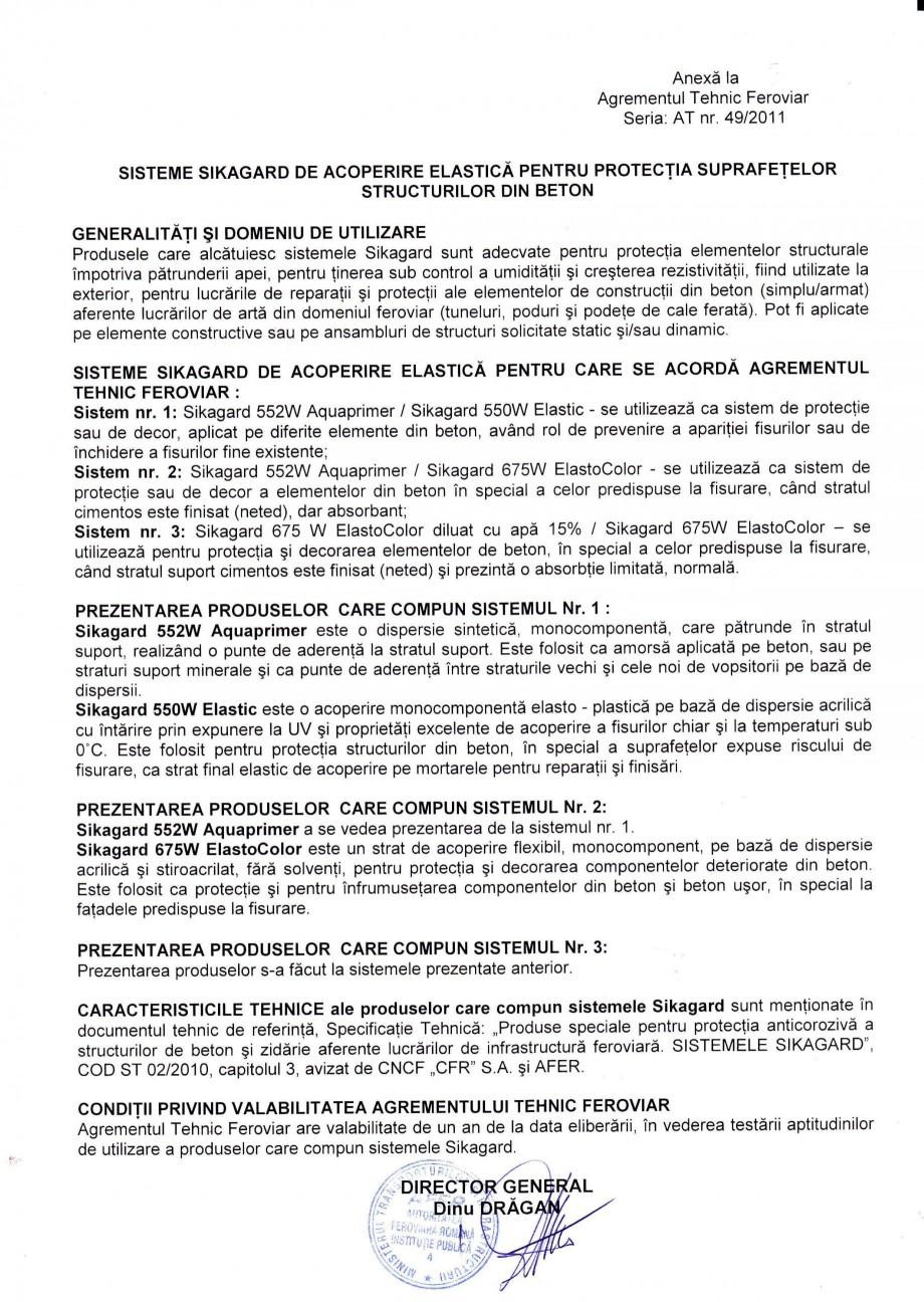 Pagina 2 - Agrement tehnic feroviar SIKA Sikagard®-552 W-Aquaprimer, Sikagard®-550 W Elastic...