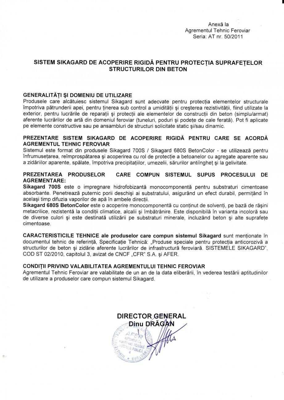 Pagina 2 - Agrement tehnic feroviar SIKA Sikagard®-700 S Certificare produs Romana e tehnici...