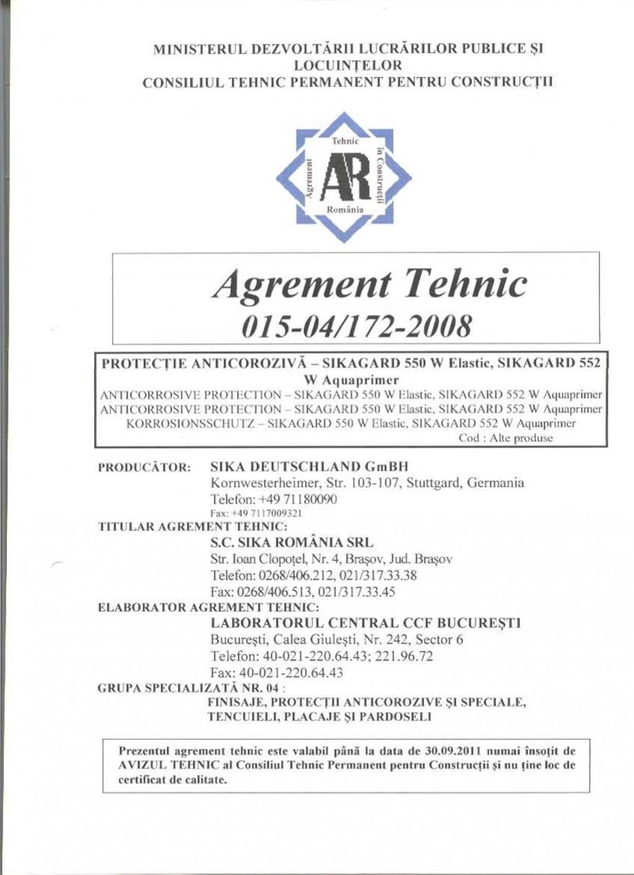 Pagina 2 - Agrement tehnic SIKA Sikagard®-550 W Elastic (M), Sikagard®-552 W-Aquaprimer...