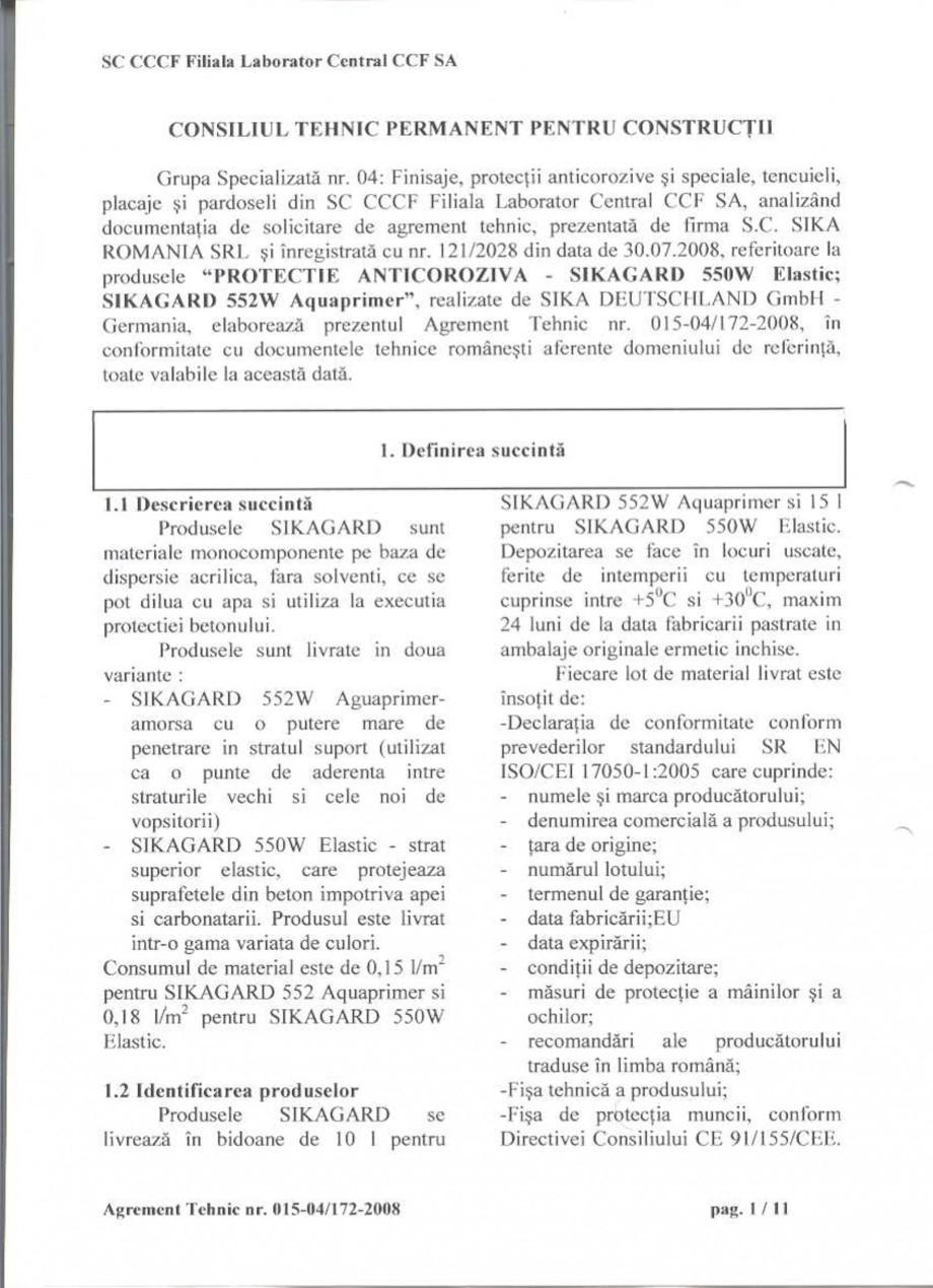 Pagina 3 - Agrement tehnic SIKA Sikagard®-550 W Elastic (M), Sikagard®-552 W-Aquaprimer...