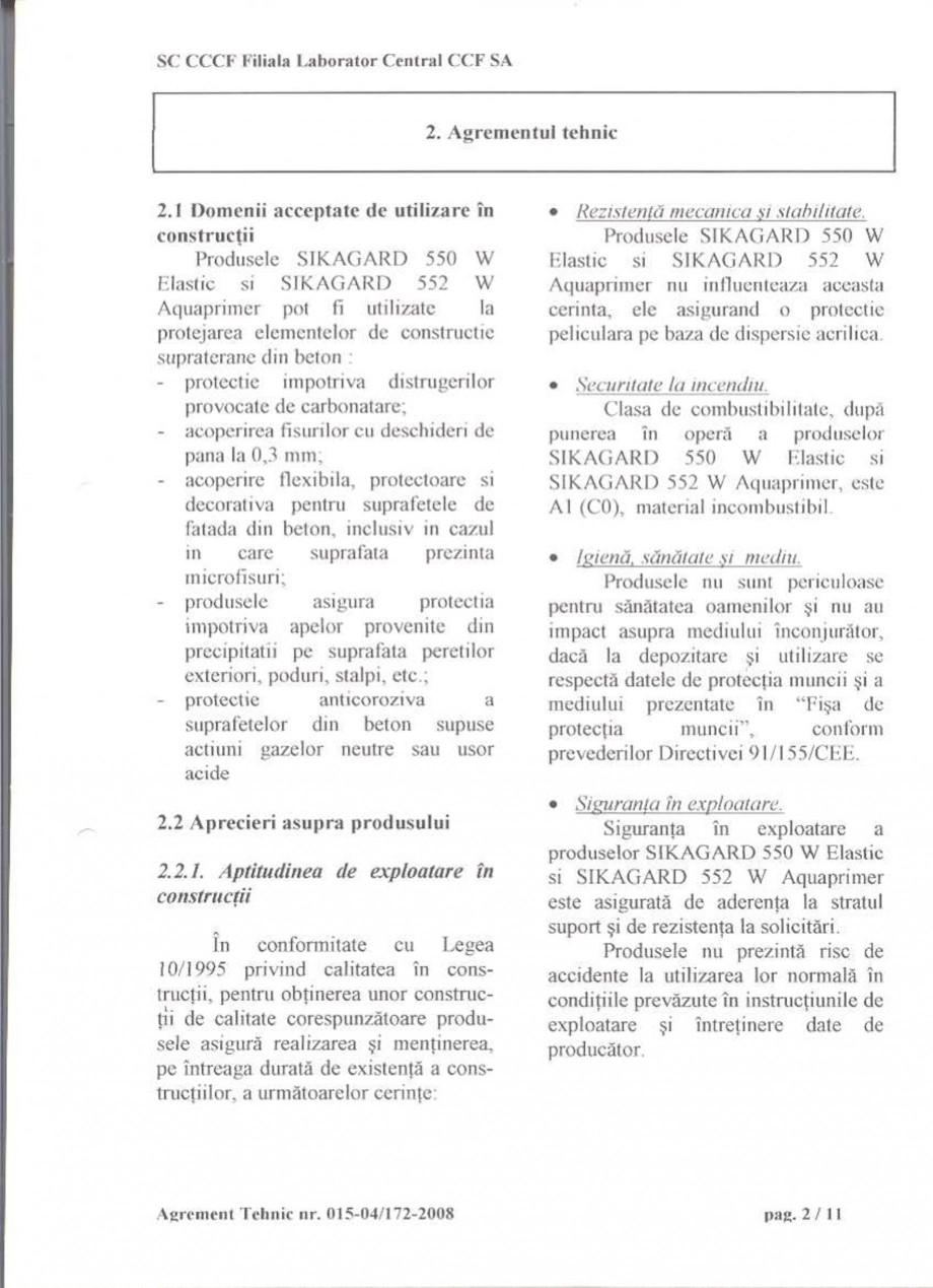Pagina 4 - Agrement tehnic SIKA Sikagard®-550 W Elastic (M), Sikagard®-552 W-Aquaprimer...