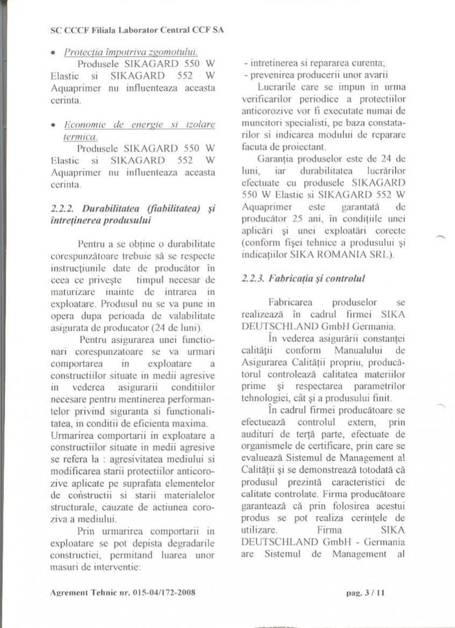 Pagina 5 - Agrement tehnic SIKA Sikagard®-550 W Elastic (M), Sikagard®-552 W-Aquaprimer...
