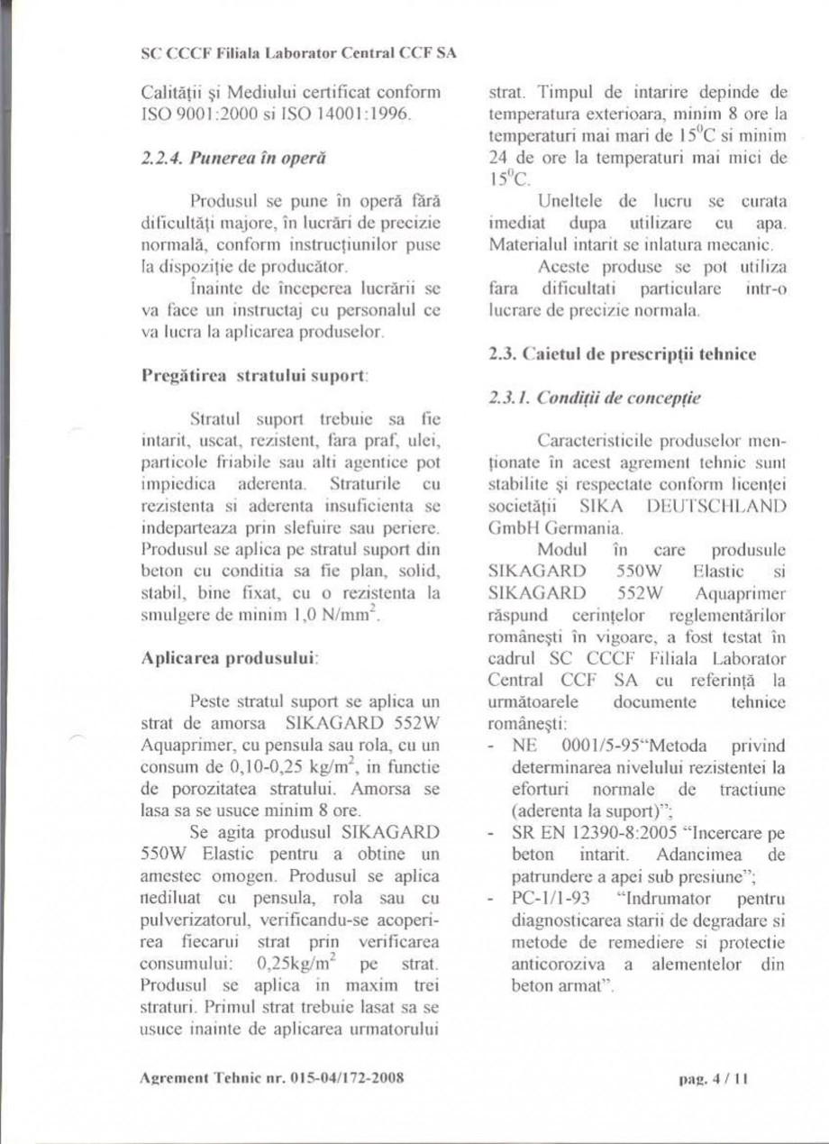 Pagina 6 - Agrement tehnic SIKA Sikagard®-550 W Elastic (M), Sikagard®-552 W-Aquaprimer...