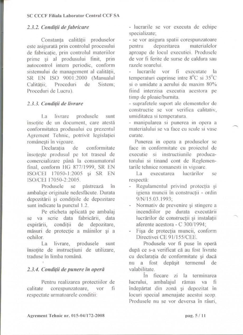 Pagina 7 - Agrement tehnic SIKA Sikagard®-550 W Elastic (M), Sikagard®-552 W-Aquaprimer...