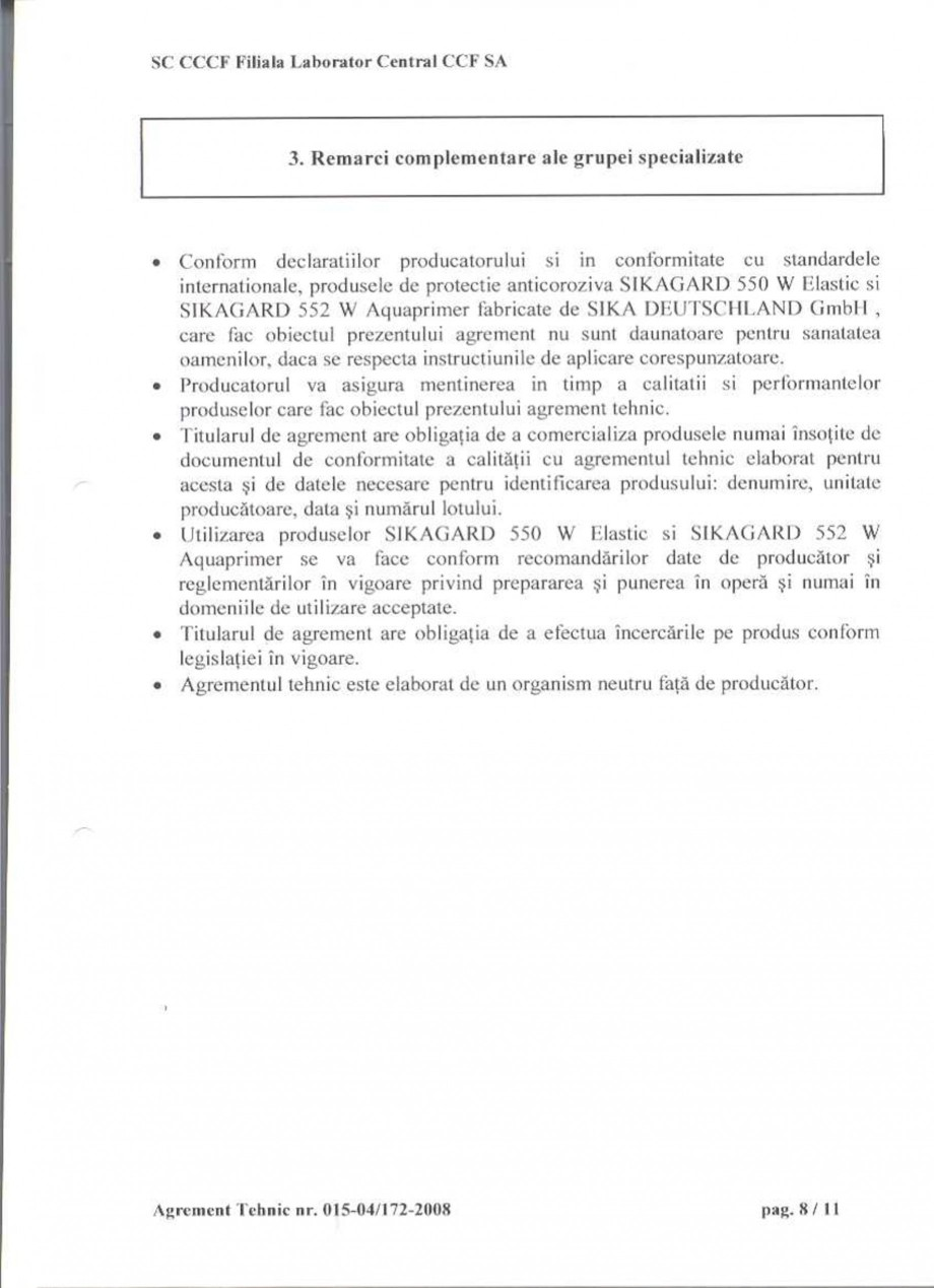 Pagina 10 - Agrement tehnic SIKA Sikagard®-550 W Elastic (M), Sikagard®-552 W-Aquaprimer...