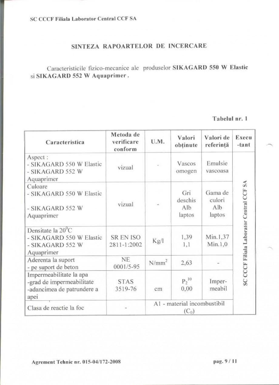 Pagina 11 - Agrement tehnic SIKA Sikagard®-550 W Elastic (M), Sikagard®-552 W-Aquaprimer...