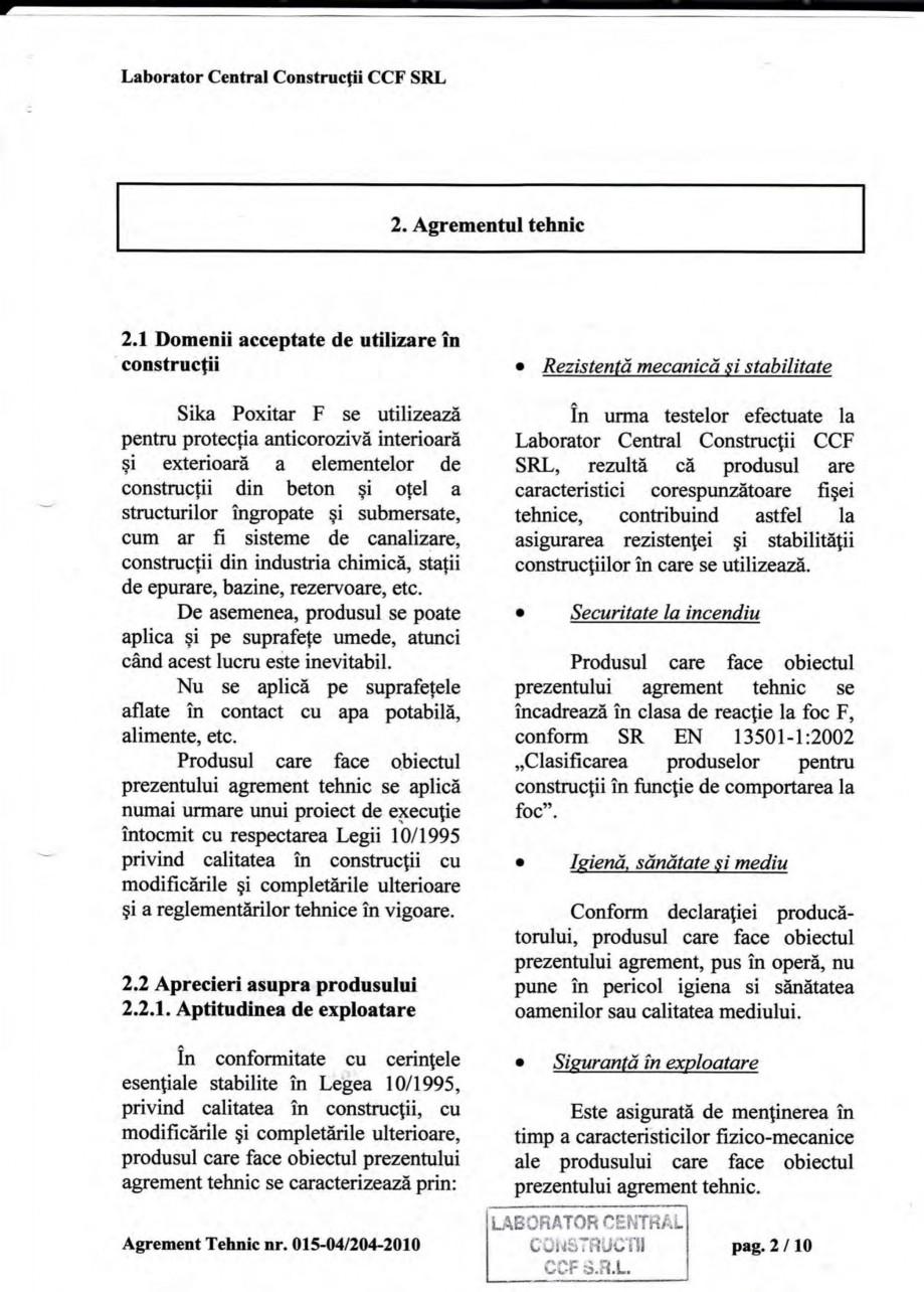 Pagina 5 - Agrement tehnic SIKA Sika® Poxitar F Certificare produs Romana fii din industria...