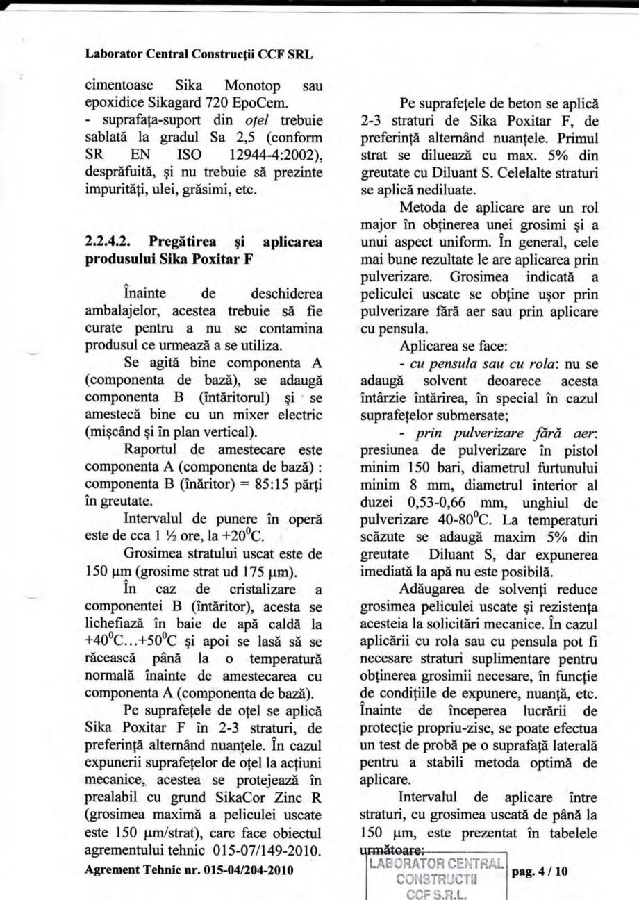 Pagina 7 - Agrement tehnic SIKA Sika® Poxitar F Certificare produs Romana o baza unei re{ete ...