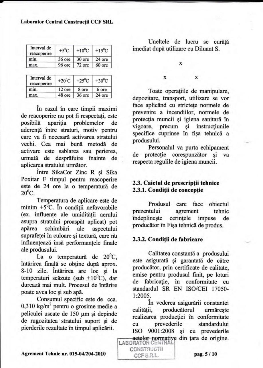 Pagina 8 - Agrement tehnic SIKA Sika® Poxitar F Certificare produs Romana odus se poate utiliza ...