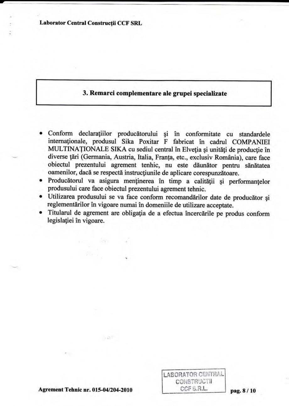 Pagina 11 - Agrement tehnic SIKA Sika® Poxitar F Certificare produs Romana zistenfa acesteia la ...