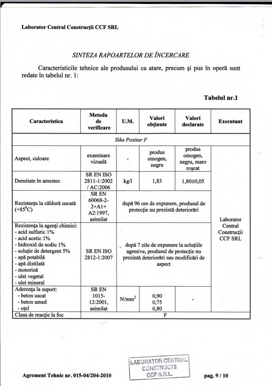 Pagina 12 - Agrement tehnic SIKA Sika® Poxitar F Certificare produs Romana ace obiectul...