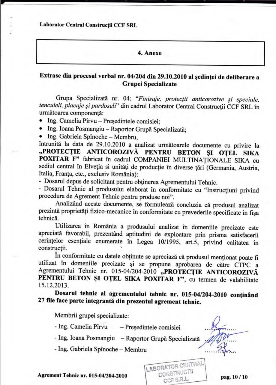 Pagina 13 - Agrement tehnic SIKA Sika® Poxitar F Certificare produs Romana  muncii gi igiena...
