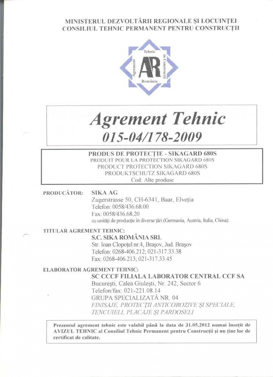 Pagina 2 - Agrement tehnic SIKA Sikagard®-680 S Certificare produs Romana