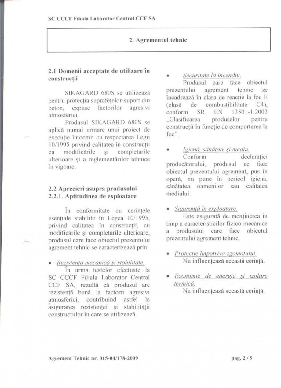 Pagina 4 - Agrement tehnic SIKA Sikagard®-680 S Certificare produs Romana