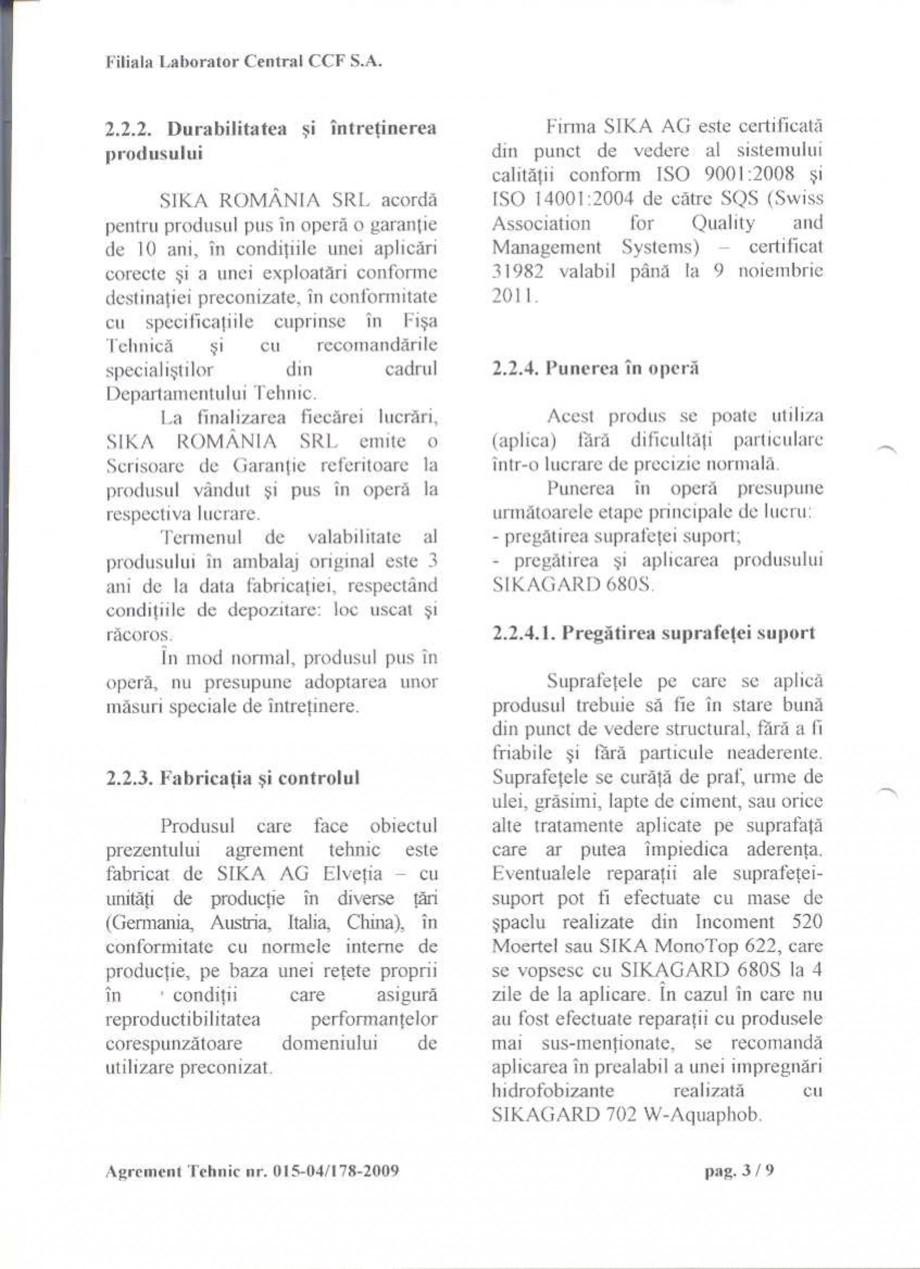 Pagina 5 - Agrement tehnic SIKA Sikagard®-680 S Certificare produs Romana