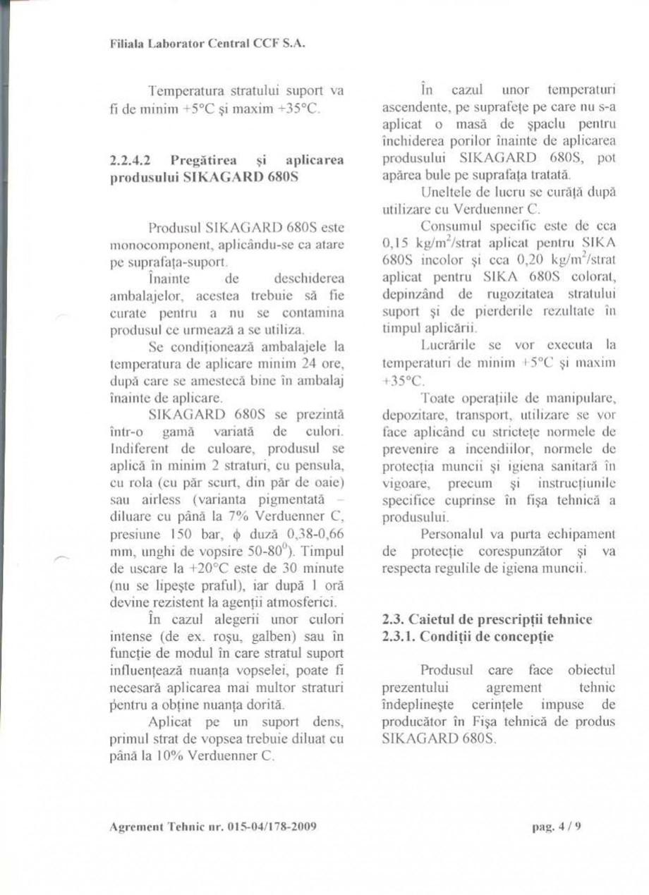 Pagina 6 - Agrement tehnic SIKA Sikagard®-680 S Certificare produs Romana