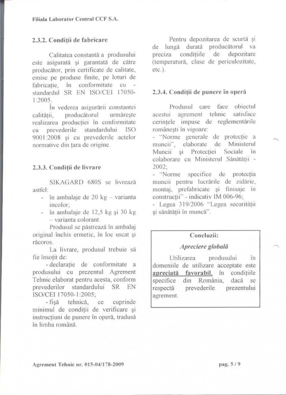 Pagina 7 - Agrement tehnic SIKA Sikagard®-680 S Certificare produs Romana