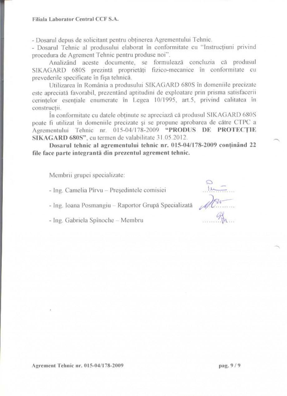 Pagina 11 - Agrement tehnic SIKA Sikagard®-680 S Certificare produs Romana