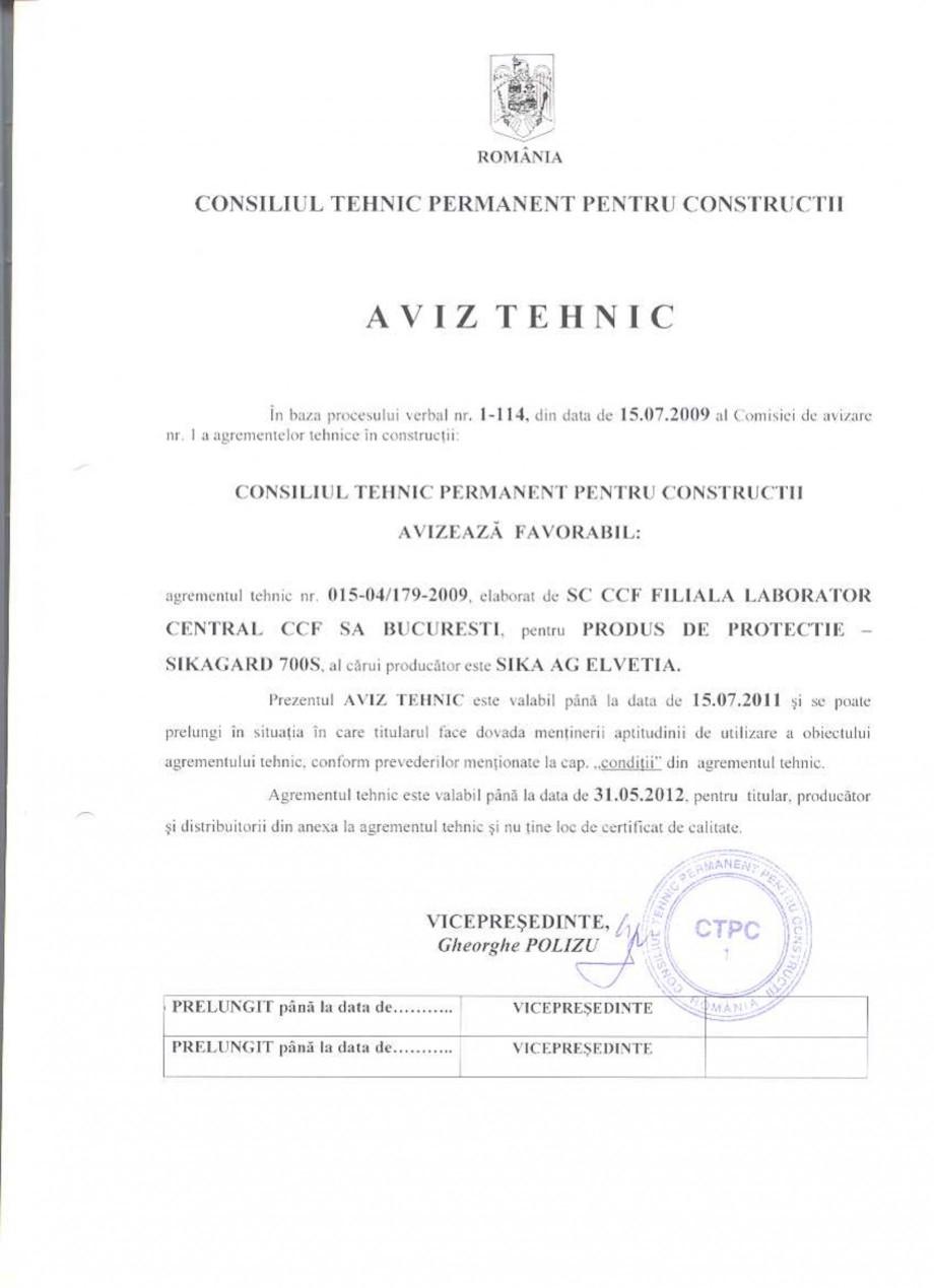 Pagina 1 - Agrement tehnic SIKA Sikagard®-700 S Certificare produs Romana