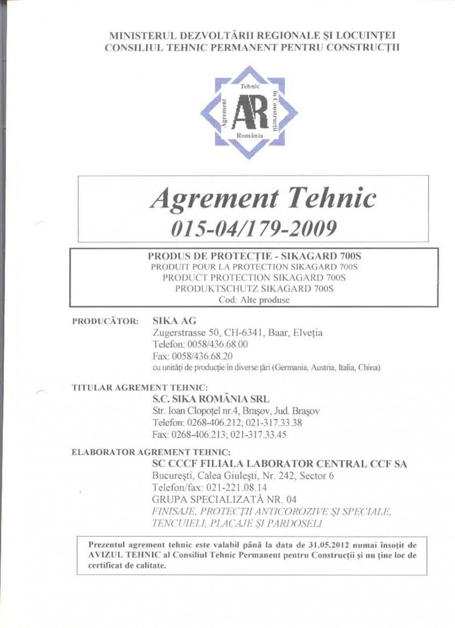 Pagina 2 - Agrement tehnic SIKA Sikagard®-700 S Certificare produs Romana