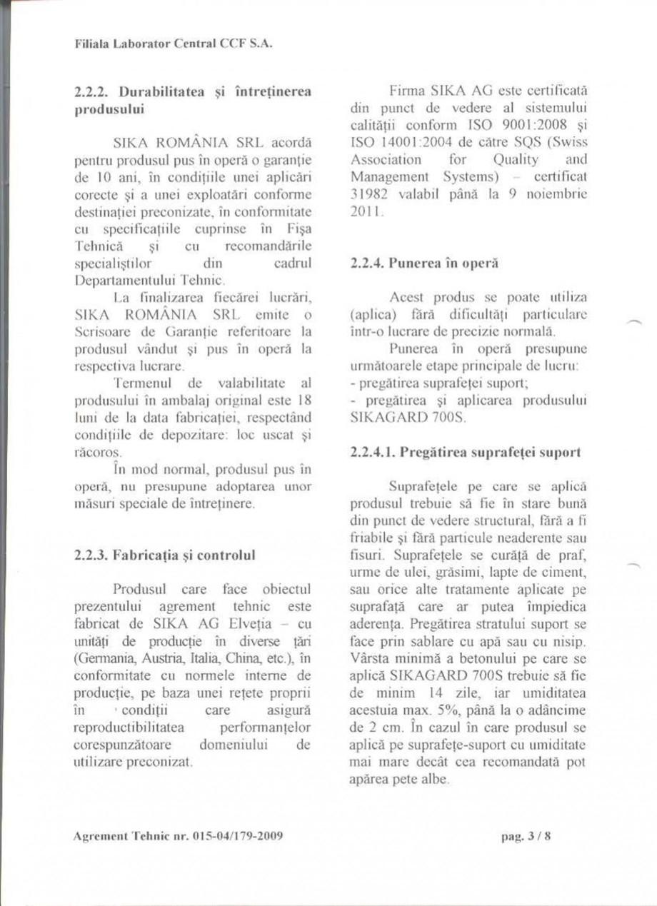 Pagina 5 - Agrement tehnic SIKA Sikagard®-700 S Certificare produs Romana