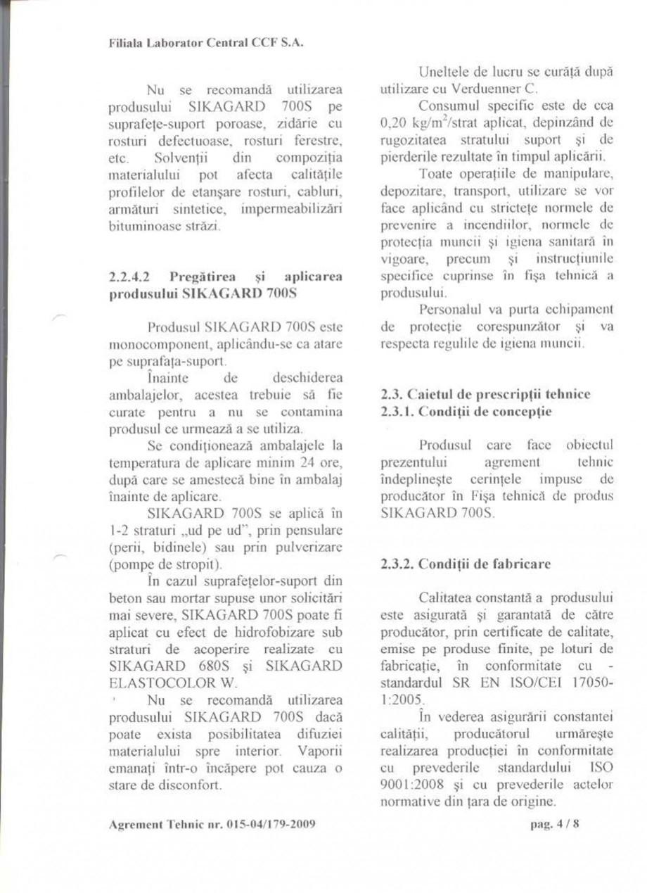 Pagina 6 - Agrement tehnic SIKA Sikagard®-700 S Certificare produs Romana