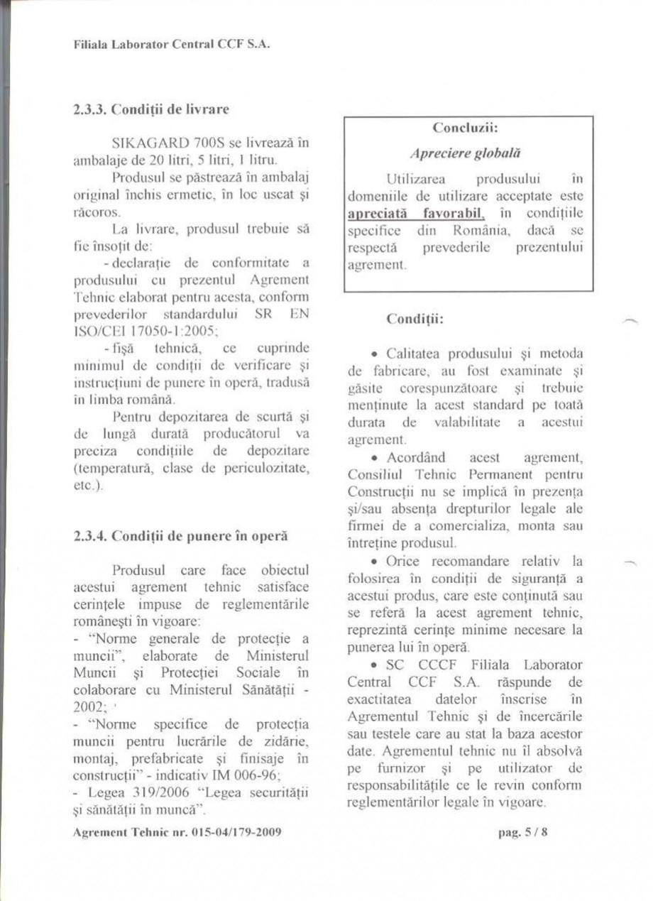 Pagina 7 - Agrement tehnic SIKA Sikagard®-700 S Certificare produs Romana