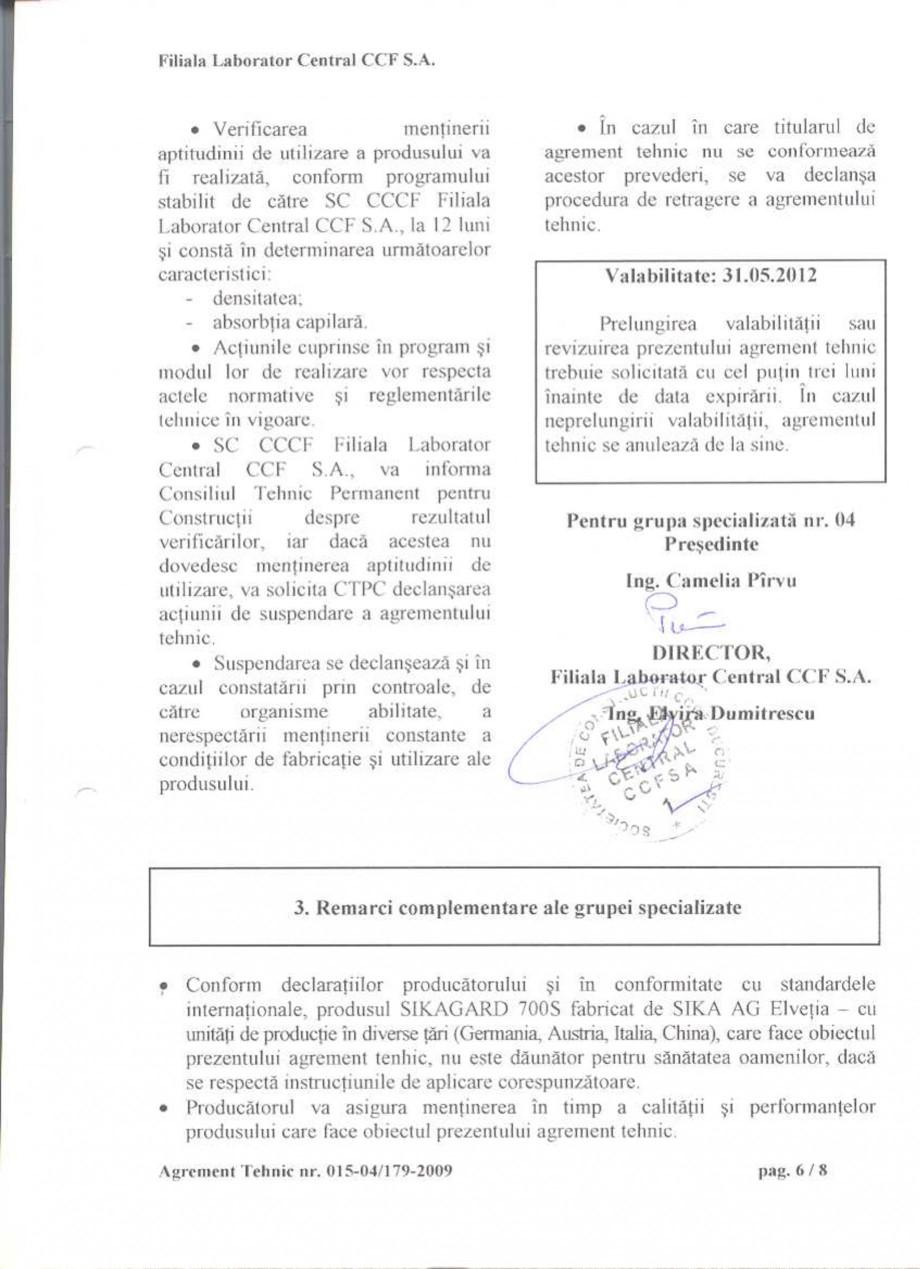 Pagina 8 - Agrement tehnic SIKA Sikagard®-700 S Certificare produs Romana