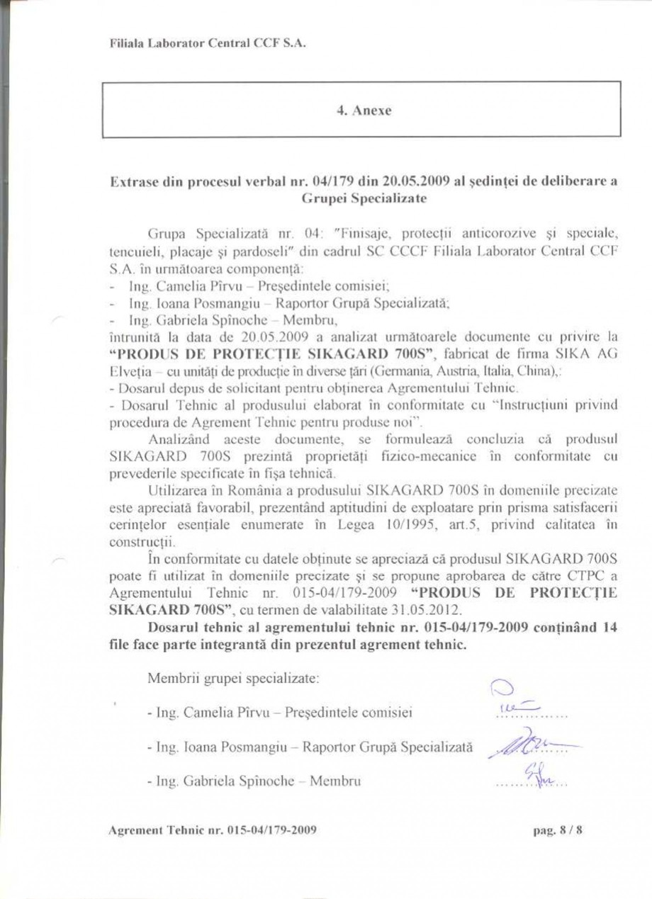 Pagina 10 - Agrement tehnic SIKA Sikagard®-700 S Certificare produs Romana