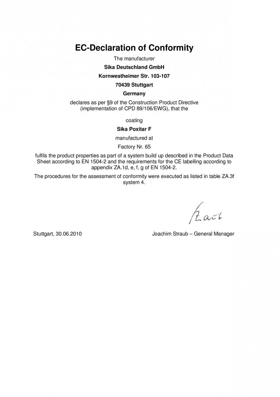 Pagina 1 - Declaratie de conformitate SIKA Sika® Poxitar F Certificare produs Engleza...