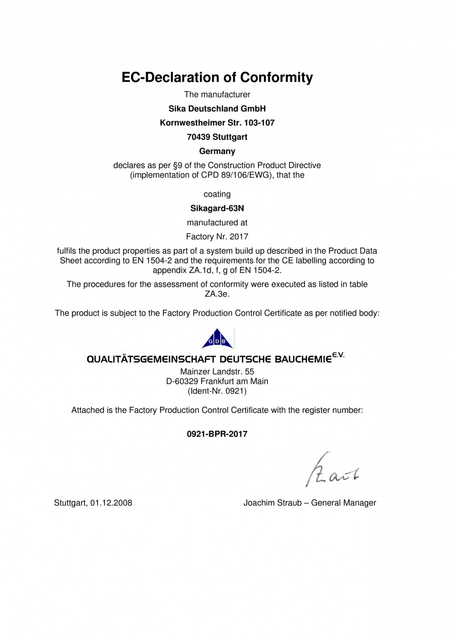 Pagina 1 - Declaratie de conformitate SIKA Sikagard - 63®N Certificare produs Romana...