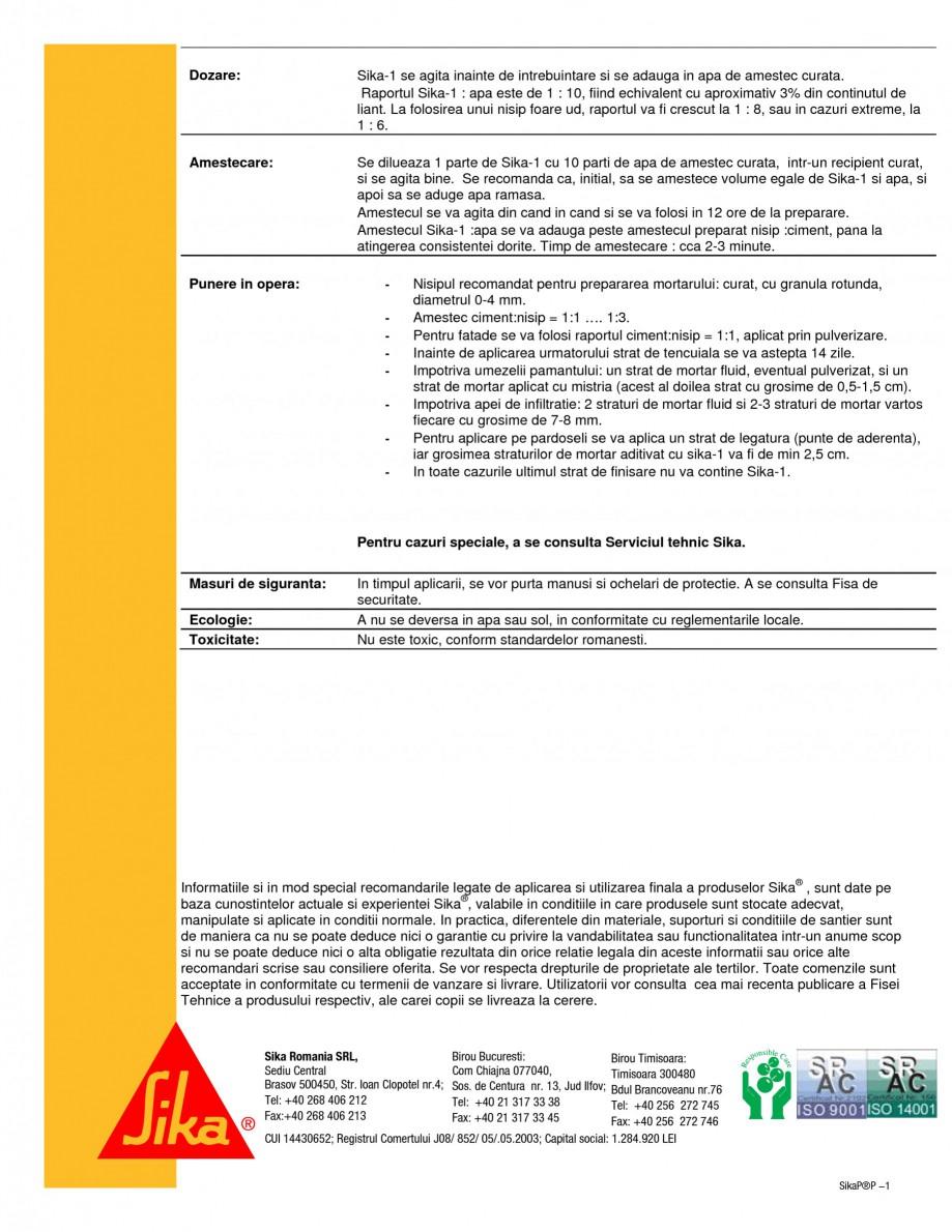 Pagina 2 - Aditiv de impermeabilizare pentru mortare SIKA Sika® -1 Fisa tehnica Romana i....