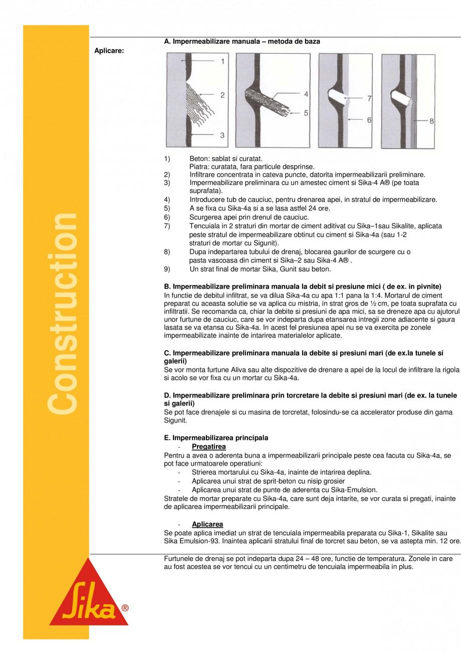 Pagina 2 - Aditiv lichid pentru impermeabilizare SIKA Sika® -4 A Fisa tehnica Romana 50 sec. ...