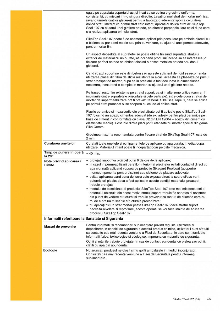 Pagina 4 - Mortar semi-elastic pentru impermeabilizare si protectie SIKA SikaTop®Seal-107 (Gri) ...